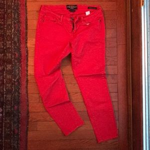 Red Skinny Cropped Jean